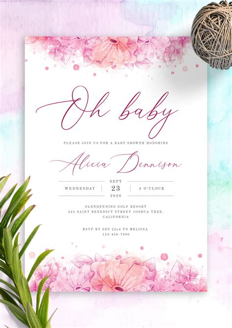 printable hibiscus watercolor baby shower