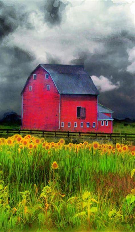 bright red barn pasturepainting  barns barn art