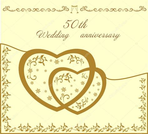 Fiftieth wedding invitation vector illustration Stock