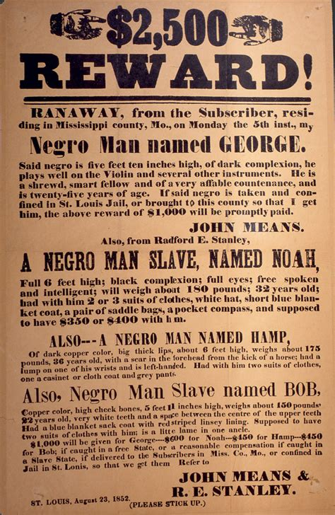 runaway slave reward poster  humanities texas
