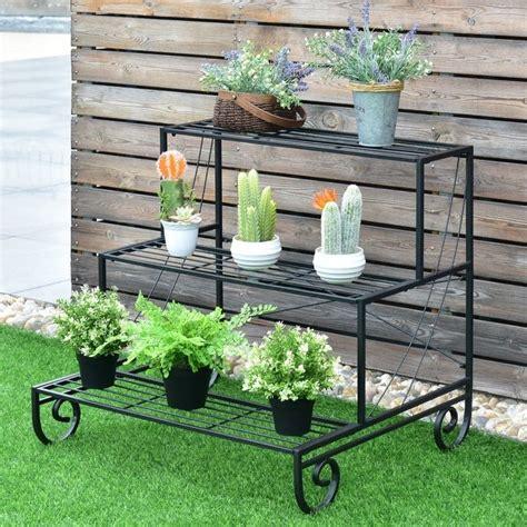 costway  tier outdoor metal plant stand flower planter