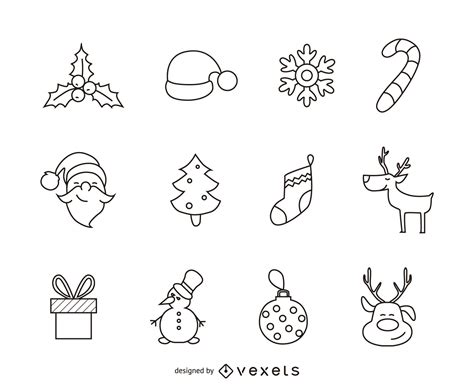 christmas picture outline 12 icon outline set vector