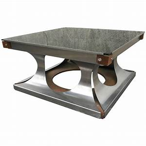 maison jansen 1970s brushed steel and wood square coffee With brushed steel coffee table