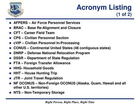 pcs acronym ppt non foreign oconus to conus civilian pcs briefing powerpoint presentation id 650439