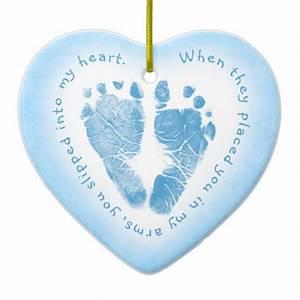 Baby Boy Blue Footprint Photo Ornament | Zazzle