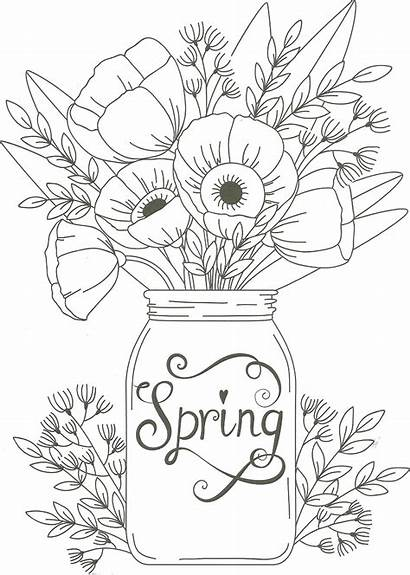 Coloring Pages Spring Adult Flower Jar Mason