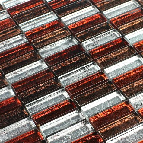 glass mosaic tiles red brown silver sticks mt51286