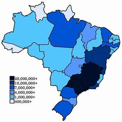 Population Brazilian States Brasile Popolazione Brazil Map