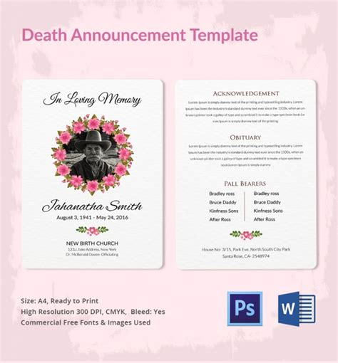 death announcement  word psd format
