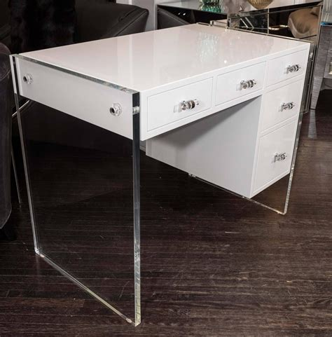 White High Gloss Lacquer Desk With Lucite Side Panels For. Corner Desk Units. Restaurant Table Bases. Pulaski Writing Desk. Wall Mounted Computer Desks. Tables And Chairs For Kids. Desk That Closes. Hand Crank Standing Desk. Small Patio Table With Umbrella