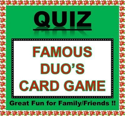 We are adding five more trivia games here that you can play on zoom. 'FAMOUS DUO'S' Pub Quiz Trivia Card Game Table Fun Families/Friends/Zoom | eBay