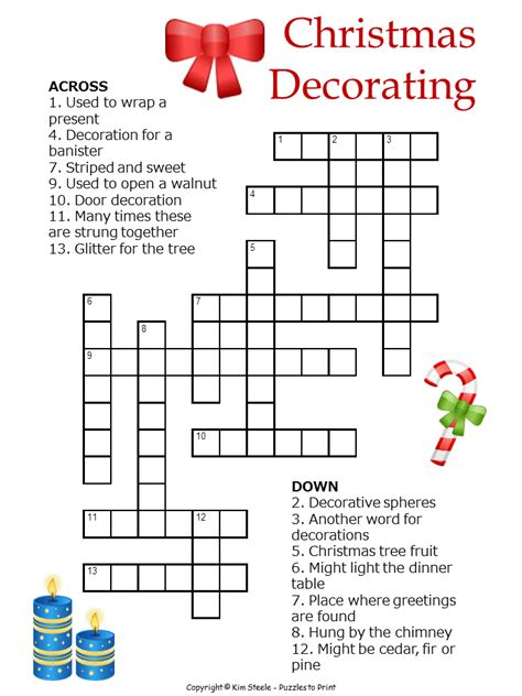 best christmas puzzles and answers decorations crossword for