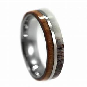 Cherry wood and deer antler wedding ring for men titanium for Deer antler mens wedding rings
