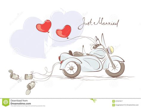wedding motorcycle  sidecar stock vector image