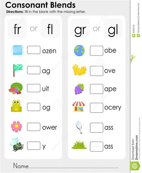 consonant blends worksheets  kindergarten scalien
