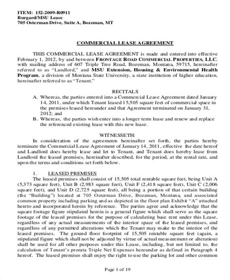 sample commercial lease agreement templates  ms