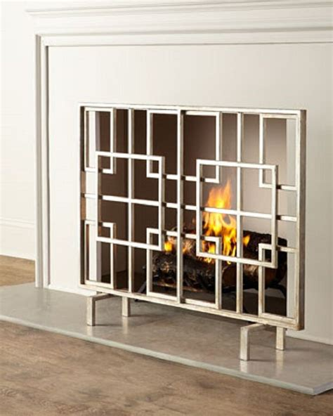 geometric modern squares contemporary fire screen
