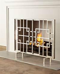 "modern fireplace screens Geometric Modern Squares Contemporary Fire Screen Fireplace Flat Panel Iron 40""W | eBay"