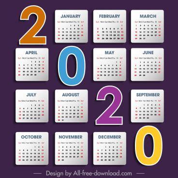 calendar template modern simple plain design vector adobe