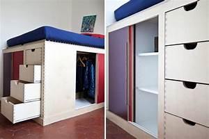 Lit Mezzanine Dressing : des rangements astucieux et patants dressing ~ Premium-room.com Idées de Décoration