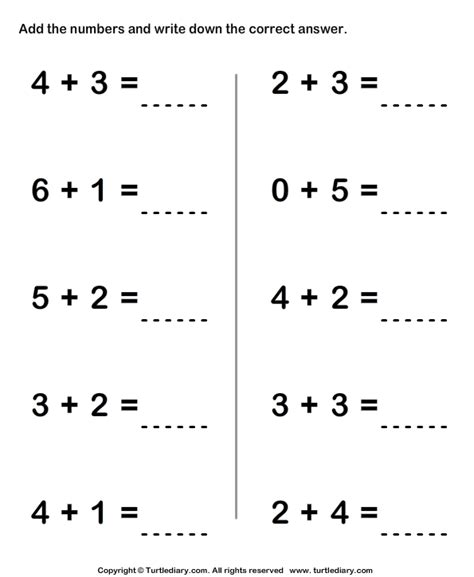 one digit addition worksheet1 math worksheets math worksheets kindergarten math worksheets