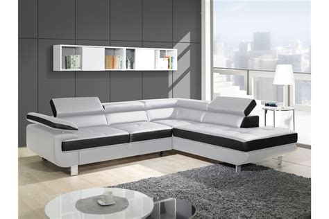achat canapé d angle canapé design d 39 angle studio cuir pu noir canapés d