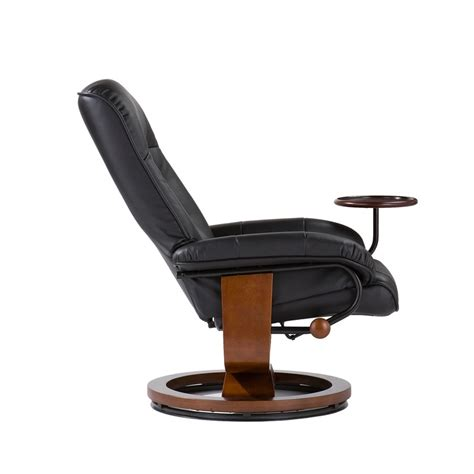 chair with side table bonded leather birch u base swivel glider reclining chair