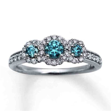 blue diamond engagement ring set wedding  bridal