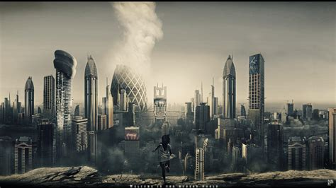 dubai digital art futuristic city modern wallpaper
