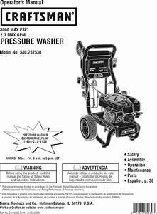 Craftsman 580752530 User Manual Pressure Washer Manuals