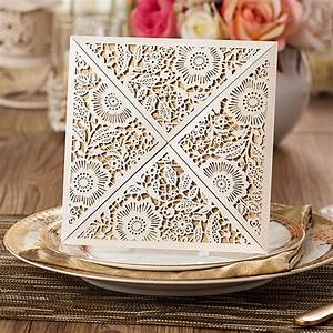 affordable ivory floral laser cut wedding invitations With laser cut floral wrap wedding invitations