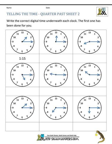 clock worksheet quarter   quarter
