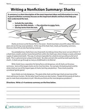 writing a nonfiction summary sharks worksheet