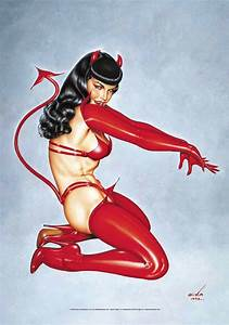 Bettie Page Red Devil Fabric Poster