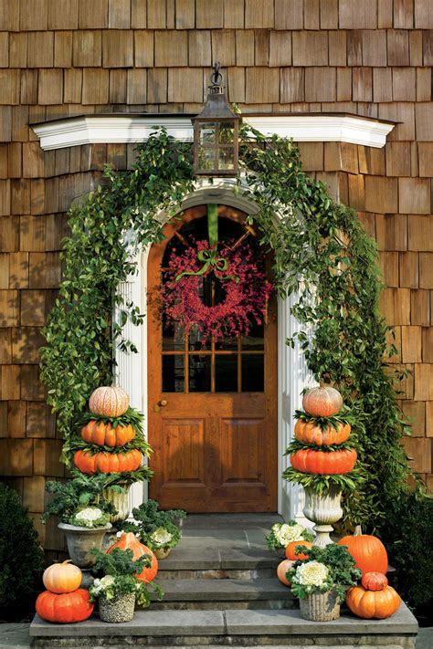 Outdoor Decorating by 30 Outdoor Decorations For Fall Southern Living