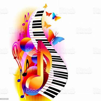 Piano Notes Colorful Background Keyboard Clipart Vector