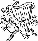 Harp Coloring Pages Music Kelly Class sketch template