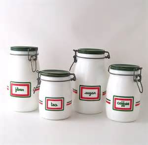 glass kitchen canister set vintage kitchen canister set glass milkglass coffee tea sugar fl