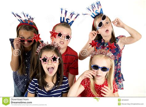 Five Cousins Dressed Patriotic Being Silly With A Funny Expression Stock Photo