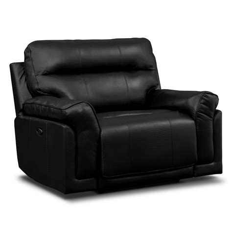 awesome black leather cuddler recliner on gray rug matched