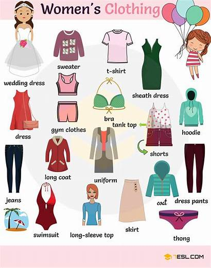 Clothing Vocabulary Names Clothes English Accessories Types