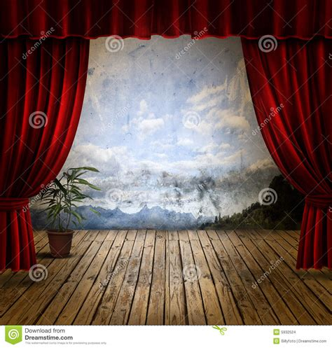stage  velvet curtains stock images image