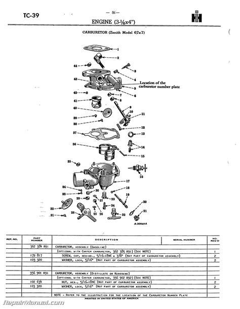 Farmall Super Tractor Parts Manual