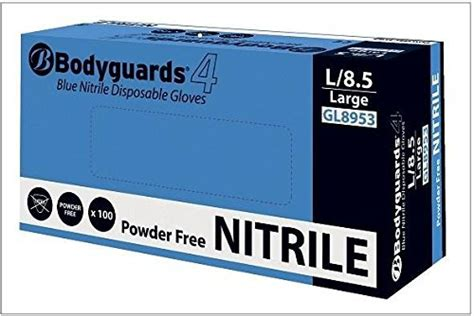 body guard blue nitrile longer cuff disposable glove