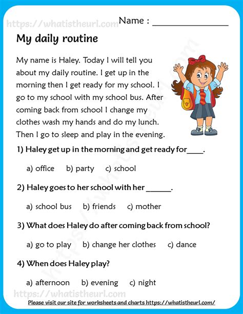 daily routine reading comprehension  grade