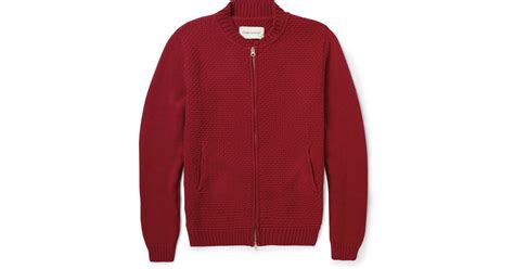 Oliver Spencer Chunky-knit Cotton Zipped Cardigan In Red For Men