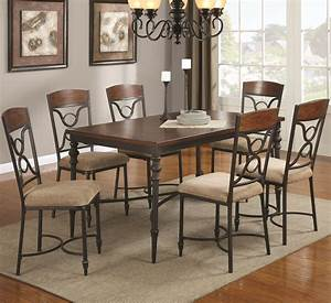 klaus cherry metal and wood dining table set steal a With metal dining chairs wood table