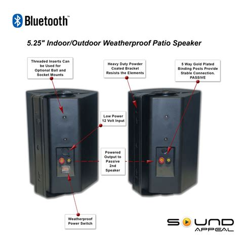 bluetooth outdoor speakers for patio or pool with