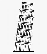 Tower Coloring Pisa Leaning Draw Cartoon Netclipart sketch template
