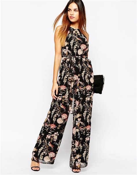 printed jumpsuits warehouse floral printed jumpsuit lyst